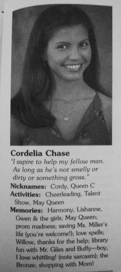 Cordy yearbook (Buffy the Vampire Slayer)