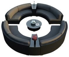 Urbana Eclipse 7 Piece Round Sectional Set, Charcoal Cushions modern patio furniture and outdoor furniture