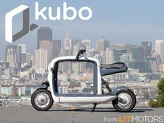 """kubo is a unique, fun way to get around the city. This """"pickup truck on two wheels"""" can carry anything you need, from your daily necessities to a new iMac. And it's 100% electric! See more at litmotors.com/kubo."""