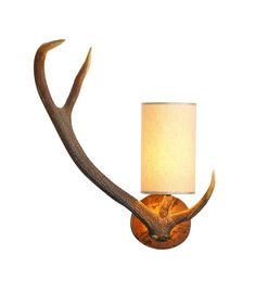 David Hunt ANT0729L Antler Left Rustic Wall Light with cream shade