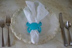 Set of 4 Cast Iron Crab Napkin Ring ~ By The Seashore Decor ~ $40.00