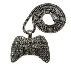 Gold iced out xbox 360 game controller pendant game searches black iced out xbox 360 game controller pendant with a 36 inch franco necklace chain jotw 3495 great quality jewelry approximate measurements of aloadofball Choice Image