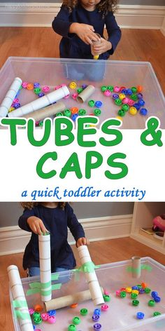 A super easy to set up, inexpensive and crazy fun activity! It only requires 3 supplies and two of them are from your recycling bin! Indoor activities for kids Toddler Learning Activities, Games For Toddlers, Infant Activities, Preschool Activities, Kids Learning, Montessori Toddler, Learning Games, Activities For One Year Olds, Montessori Bedroom