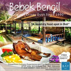 "Bebek Bengil: Original Crispy Duck since 1990. ""It's a must try food in Bali"". Free pick up service, please call 8948111."