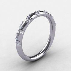 French Bridal Platinum Diamond Wedding Band R185B-PLATD | ArtMastersJewelry - Jewelry on ArtFire