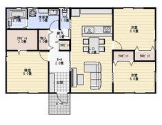 28坪南玄関3LDKの平屋の間取り   平屋間取り
