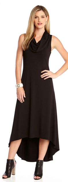 A drapey cowl neck frames the flattering hi-lo silhouette of this jersey-knit dress.