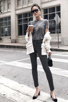 look calça listrada
