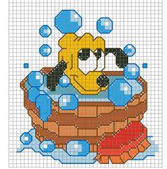 SCHEMA BABY PLUTO Free Cross Stitch Charts, Easy Cross Stitch Patterns, Cross Stitch For Kids, Simple Cross Stitch, Cross Stitch Baby, Animated Disney Characters, Walt Disney, Stitch Cartoon, Disney Stitch
