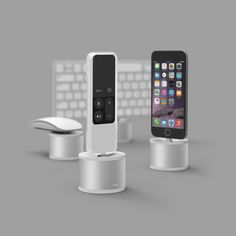 elago D Stand Charging Station - Silver. Works with Apple TV (Siri remote), Magic Mouse 2, iPhone, iPad mini, Magic Keyboard.