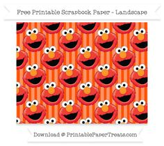 Free Landscape Orange Striped Large Elmo Head Pattern Paper - Sesame Street
