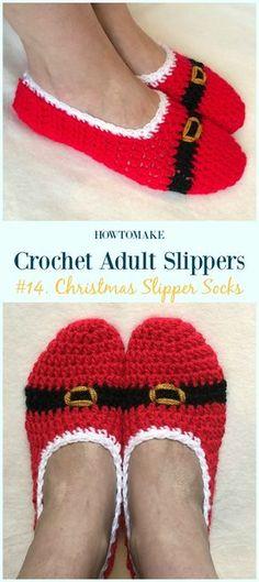 Christmas Slipper Socks Crochet Free Pattern - #Crochet; Adult #Slippers; Free Patterns
