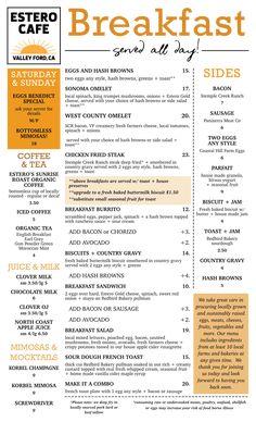 breakfast-menu Farmers Cheese, Chicken Fried Steak, Breakfast Menu, Cafe Menu, Bacon Egg, Sonoma County, Side Salad, Stuffed Mushrooms, Stuff Mushrooms