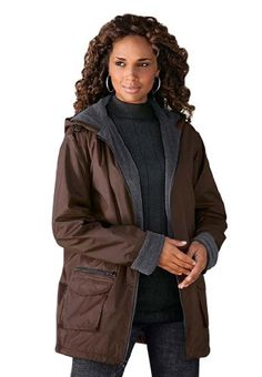 Roamans Plus Size Hooded Nylon Jacket $29.99