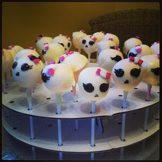 """My Strawberry """"Monster High"""" theme cake pops I made for a bday party :)"""