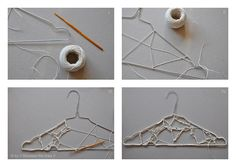 Freestyle crochet and a hanger. It is a cute idea, too much work for a hanger, but cute C: