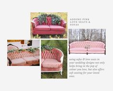 ​ Creating Colour Guides to help our couples with decor ideas in a variety of colour palettes. ​Our next guide shares ideas for using black in your wedding design. Pink Furniture, Vintage Furniture, Furniture Decor, Outdoor Furniture Sets, Pink Loveseat, Pink Sofa, Vintage Sofa, Vintage Pink, Pink Wine Glasses