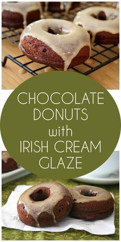 Low carb grain-free chocolate donuts with Irish Cream Glaze.