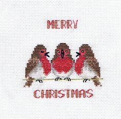 Robin Trio Cross Stitch Christmas Card Kit from Derwentwater Designs