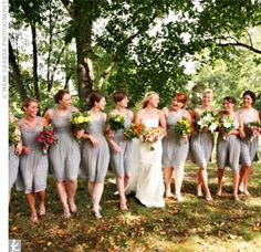 """The Bridesmaid Looks  Though she had done a lot of looking around in magazines and online, the dress Amber loved most for her bridesmaids, a gray chiffon dress with an empire waist, was from Forever21.com. """"They each cost $33, and no one could believe it,"""" Amber says."""