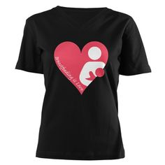 Breastfeeding is Love Women's V-Neck Dark T-Shirt