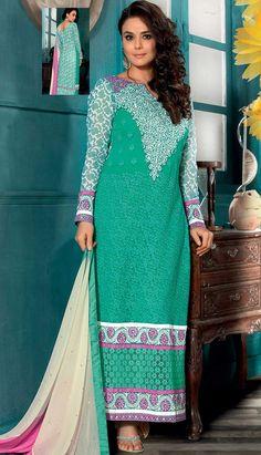 Fashionable Indian Rama Green Georgette Churidar Kameez PartyWearDresses,