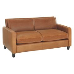 Cute CHESTER Mid tan leather seater sofa dark stained feet