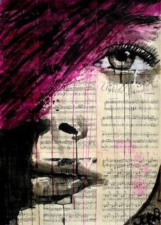 "Saatchi Art Artist: Loui Jover; Pen and Ink  Drawing ""violets song (SOLD)"" #Art"