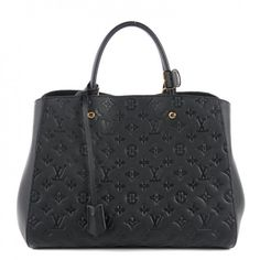 This is an authentic LOUIS VUITTON Empreinte Montaigne GM in Noir Black. This chic tote is crafted of Louis Vuitton monogram embossed leather in black.