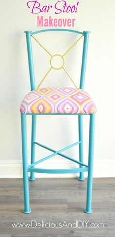 Bar Stool Makeover- Delicious And DIY
