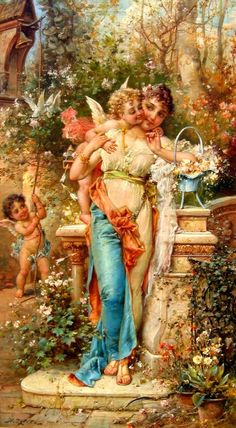 """Hans Zatzka (Austrian, A Superb Quality Oil on Canvas Titled """"Spring Love"""" Depicting a standing young maiden holding a wicker basket filled with fresh flower as she is being hugged and kissed by a young cupid while another cherub rings a bell an Art Occidental, Renaissance Kunst, Foto Transfer, I Believe In Angels, Oil Painting Reproductions, Angel Art, Beautiful Paintings, Belle Photo, Madonna"""