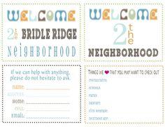 Welcome New Neighbors Welcome New Neighborsprintable Cardsfree