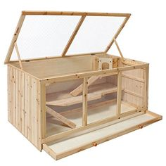 TecTake Large wooden rodent cage villa hut for small animals - with three levels
