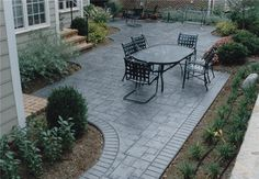 stamped concrete patio courtyard
