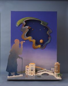 """""""Galileo Contemplating the Movement of the Planets"""" - Paper Sculpture by Ellen Rixford Studio;  """"Part of Gucci series, 5 feet tall, showing the ghost of Galileo, telescope in hand, watching the sky above his native Venice."""""""