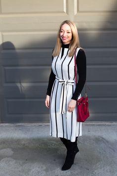 Winter layering with a striped dress, turtleneck sweater, & knee-high boots. Full post: https://avecamber.blogspot.com/2018/02/winter-layering-sleeveless-dress.html