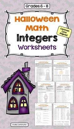 These 6 Halloween themed Integers Worksheets cover Absolute Value & Opposite Integers, Comparing & Ordering Integers, Adding & Subtracting Integers, Multiplying & Dividing Integers, and Order of Operations with Integers. There is also a Halloween Integer Riddle that uses adding, subtracting, multiplying, and dividing integers.