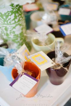 Coffee mug favors of course - mismatched just like Central Perk! FRIENDS themed bridal shower - a 90's girl dream! Check out the details from themed foods to a trivia game from this Richmond Wedding Collective Shower by Jessica Maida Photography! | See more on richmondweddingcollective.com