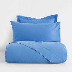 Изображение товара Базовое постельное белье из перкаля голубого цвета