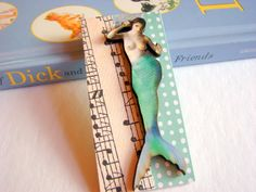 Mermaid In Aqua Blue Musical Notes 3D Dimensional