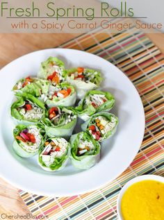 These fresh spring rolls are a wonderful, healthy lunch or dinner option. To top it off there is a yummy spicy carrot ginger sauce to compli...