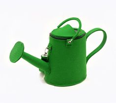 Green Felt Watering Pot Bag by krukrustudio on Etsy, $150.00