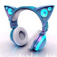 Cat ear-shaped headphones glow in bright LED lights. Mind control with a little bit of bass. Cat Headphones, Light Up Headphones, Catty Noir, Accessoires Iphone, Mein Style, Things To Buy, Stuff To Buy, Cool Gadgets, Tech Gadgets