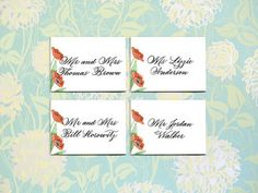 Place Cards $2.50 per card - Please contact me for details