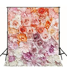 8x8FT Vinyl Backdrop Photographer,Floral,Romantic Love Bouquet Background for Party Home Decor Outdoorsy Theme Shoot Props