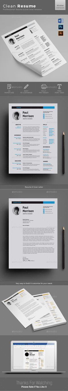 Resume by jpixel55 Clean Resume/cv template to help you land that great job. The flexible page designs are easy to use and customize, so you can quic