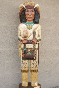 Cigar Store Indian Five Feet Tall by Frank Gallagher 0013 Medicine Man Cigar Store Indian 18687 Native American Art, American Indians, Wood Sculpture, Sculptures, Cigar Store Indian, Simple Tunic, Pow Wow, Family Traditions, Custom Paint