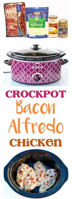 Slow Cooker Alfredo Chicken with Bacon! 5 Ingredients - The Frugal Girls-- Crockpot Alfredo Chicken Recipe! Bacon makes everything better… including this EASY 5 Ingredient Crock Pot Dinner! So delicious! Slow Cooker Huhn, Crock Pot Slow Cooker, Slow Cooker Recipes, Cooking Recipes, Meal Recipes, Cooking Tips, Cooking Games, Dip Recipes, Cooking Classes