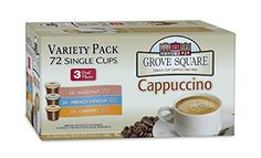 Grove Square Cappuccino Variety Pack, 72 Single Serve Cups - http://teacoffeestore.com/grove-square-cappuccino-variety-pack-72-single-serve-cups/