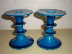 Kähler (Herman A. Kähler) candlesticks. H: 11 cm D: 9 cm from  1960-70s. Signed HAK. #kahler #ceramics #pottery #hak #candlestick #dansk #keramik #lysestage #danish. SOLGT/SOLD.